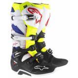 Čižmy na motocykel Alpinestars Tech 7 bielo-čierno-modro-červeno-fluo žlté