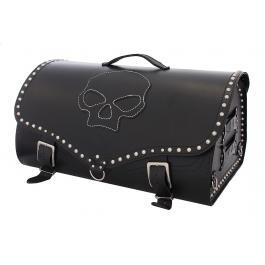 Kožený moto kufr na motorku Chopper RSA-222B Skull