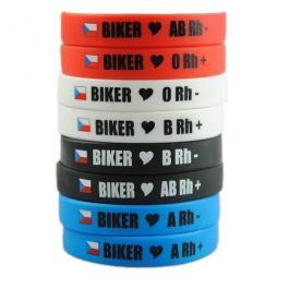 Moto náramek Biker s krevní skupinou A RH+