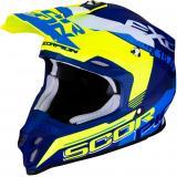 Motokrosová prilba Scorpion VX-16 Air Arhus modro-fluo žltá