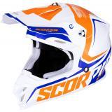 Motokrosová prilba Scorpion VX-16 Air Ernee bielo-oranžovo-modrá