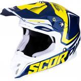 Motokrosová prilba Scorpion VX-16 Air Ernee modro-žlto-biela