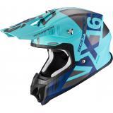 Motokrosová prilba Scorpion VX-16 Air Mach strieborno-modro-tyrkysová