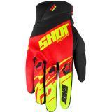 Motocrossové rukavice Shot Devo Ventury červeno-čierno-fluo žlté