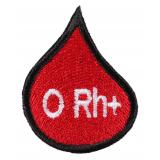 Nášivka s krvnou skupinou kvapka 0 Rh +