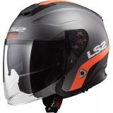 Otvorená prilba na motocykel LS2 OF521 Infinity Smart titánovo-oranžová