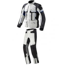 Pánska kombinéza na motorku Revit Defender šedo-modrá