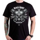 Pánske tričko Black Heart Piston Skull