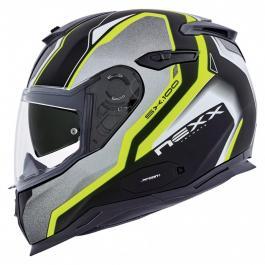 Prilba na motorku Nexx SX 100 Blast čierno-šedo-fluo žltá výpredaj