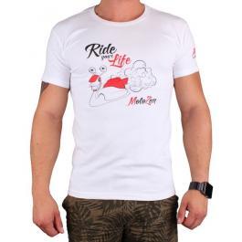 Triko s motivem Motozem Ride your life biele