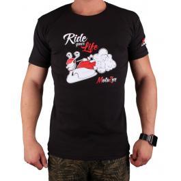 Triko s motivem Motozem Ride your life čierne