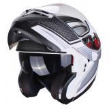 Vyklápací moto prilba Axxis Optimus čierno-strieborno-biela výpredaj