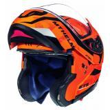 Odklápacia prilba na motocykel MT Atom Divergencia fluorescenčno-oranžová - II. akosť
